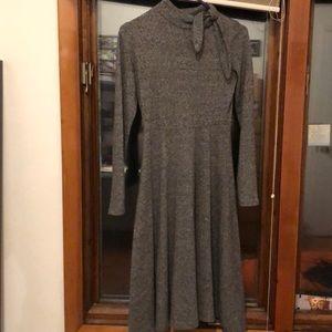 Zara slim fit grey wool formal dress with necktie